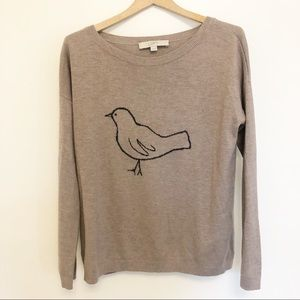 Loft Taupe Birdy Sweater Size small